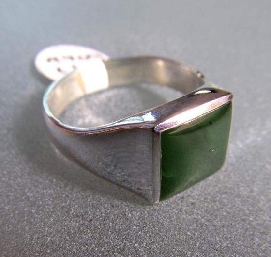 R909 Classic Square NZ Greenstone Ring
