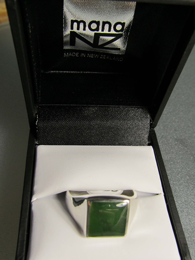 R909 Mana NZ Greenstone ring, square