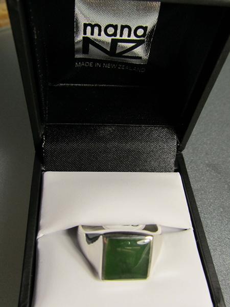R909 Men's square greenstone sterling silver ring