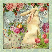 Rabbit Old Rose & Teacup card