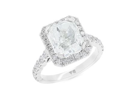Radiant Cut Diamond Halo Ring