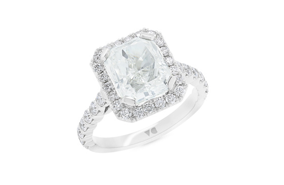 Radiant Cut Diamond Halo Ring