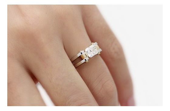 Radiant Cut Diamond Ring on hand