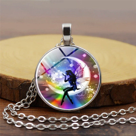 Rainbow Background Fairy Sitting on Moon Glass Pendant Necklace (Silver)