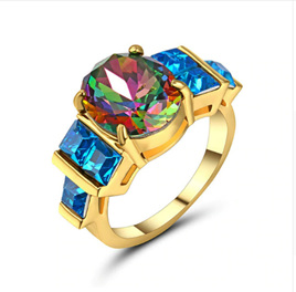RAINBOW & BLUE GEMSTONE WITH GOLD BAND RING - US8 (B216)