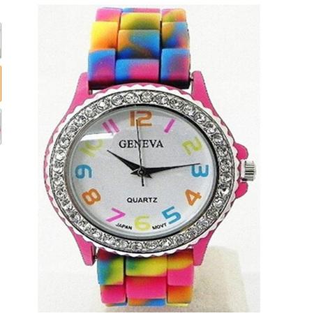 Rainbow Crystal Rhinestone Silicone Watch