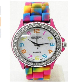 Rainbow Crystal Rhinestone Silicone Watch