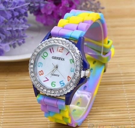 Rainbow Crystal Silicone Watch - Blue, Purple, Yellow