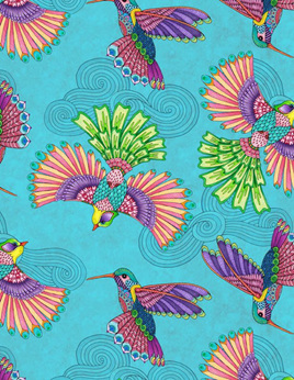 Rainbow Flight Birds Teal 77641436