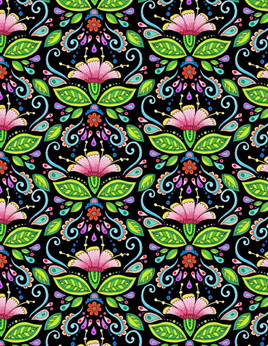 Rainbow Flight Damask Black 77643973
