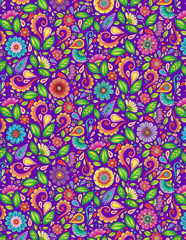 Rainbow Flight Small Floral & Scroll Purple 77644675
