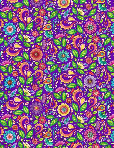 Rainbow Flight Small Floral & Scroll Purple 77644675