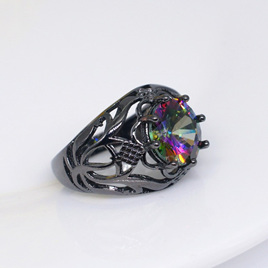 RAINBOW GEMSTONE GUNMETAL BAND RING - US9