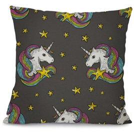 Rainbow Mane Unicorns & Stars Unicorn Cushion Cover