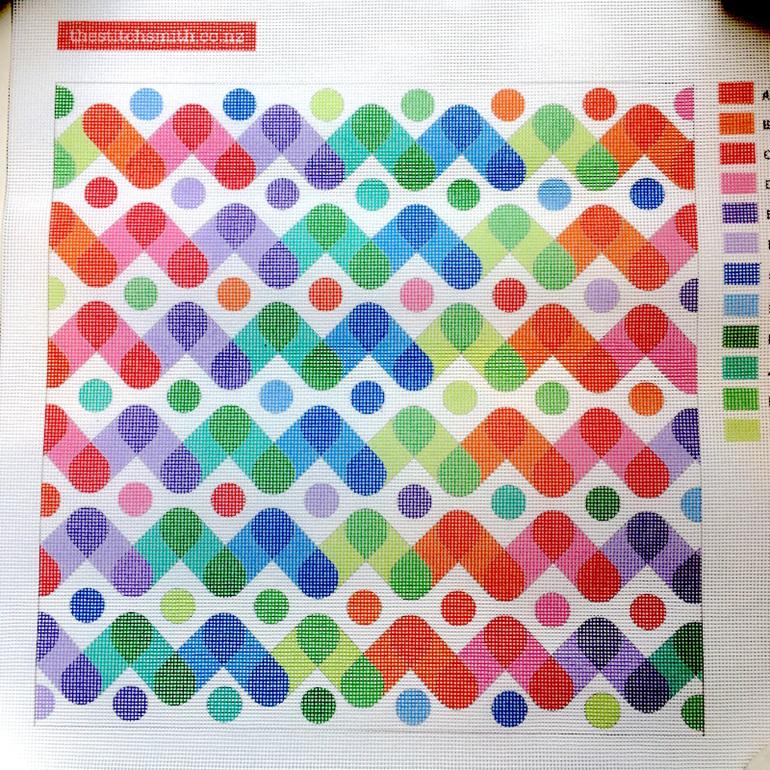 rainbow needlepoint canvas