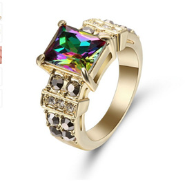RAINBOW & ONYX GEMSTONE WITH GOLD BAND RING - US8 (B260)
