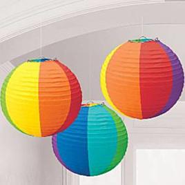 Rainbow Paper Lanterns x 3 pack