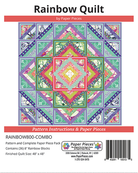 Rainbow Quilt Pattern and Paper Piece Pack