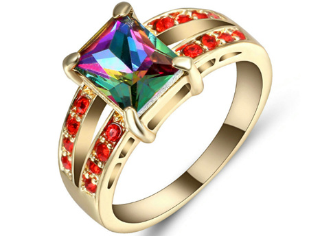 Rainbow & Red Gemstone With Gold Band Ring - US8 (B380)