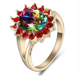 RAINBOW & RED GEMSTONE WITH GOLDBAND RING - us8 (B236)