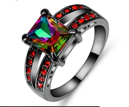 Rainbow & Red Gemstone With Gunmetal Band Ring - US8 (b384)