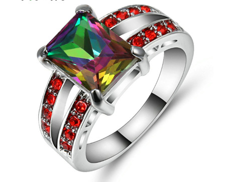 Rainbow & Red Gemstone With Silver Band Ring - US8 (B382)