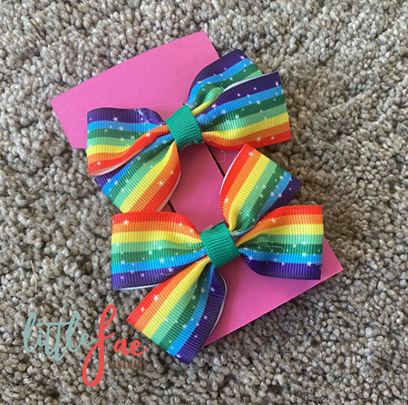 Rainbow Star Hair Bows