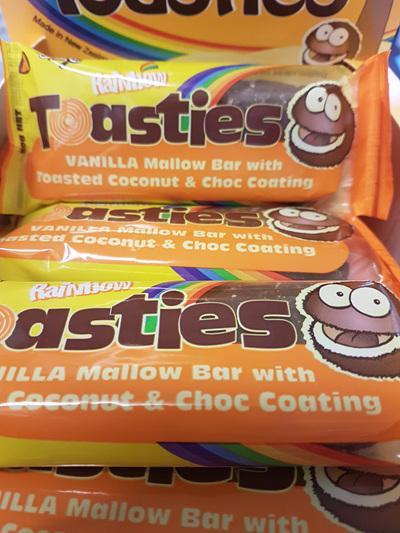 Rainbow Toasties 25 x 50g wrapped bars.