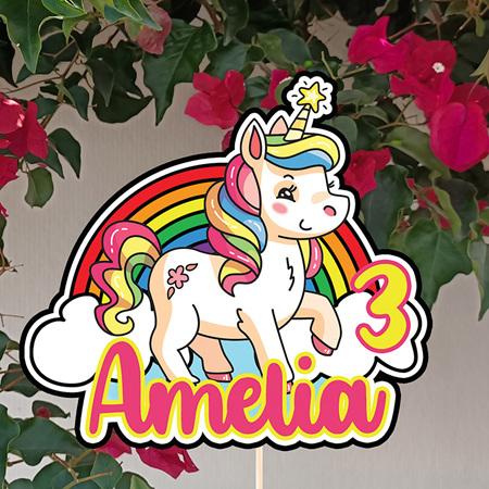 Rainbow Unicorn Cake Topper Personalised