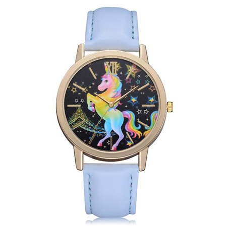 Rainbow Unicorn Watch - Blue Strap