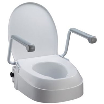 RAISED TOILET SEAT WITH ARMRESTS, ADJUSTABLE SEAT HEIGHT 60MM,100MM & 150MM HOMECRAFT