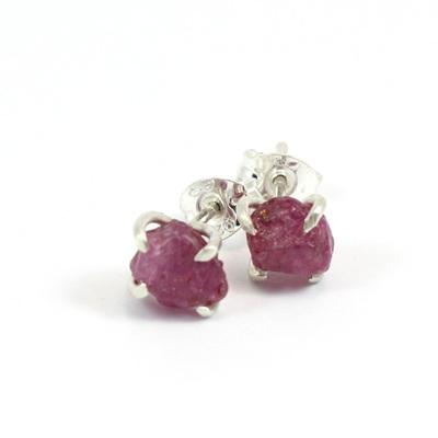 Raspberry Sapphire Studs