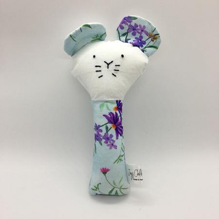 Rattle - Cat Blue Flowers
