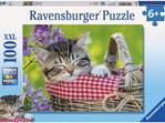 Ravensburger 100 Piece Jigsaw Puzzle: Sleeping Kitten buy at www.puzzlesnz.co.nz