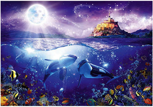 ravensburger 1000 piece jigsaw puzzle whales in the moonlight