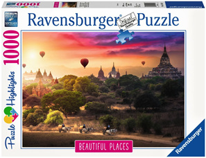 Ravensburger 1000 Piece  Jigsaw Puzzle: Hot Air Balloon Over Myanmar