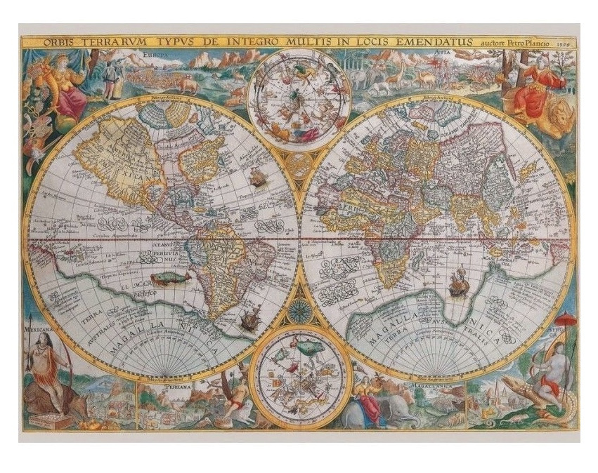Ravensburger 1500 Piece Jigsaw Puzzle: Historical Map: The World 1594