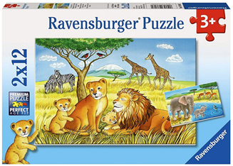 Ravensburger 2 x 12 Piece Jigsaw Puzzle: Elephants And Lions