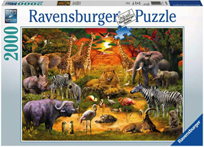 Ravensburger 2000 Piece  Jigsaw Puzzle: Gathering At The Waterhole