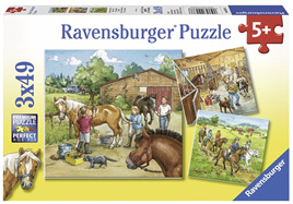 Ravensburger 3 x 49 Piece  Jigsaw Puzzle: A Day With Horses