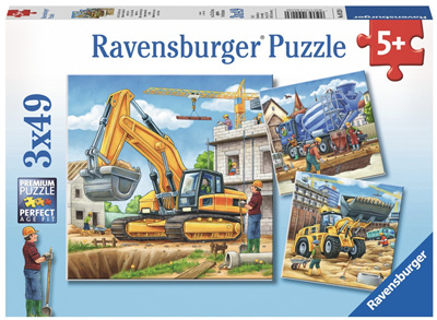 Ravensburger 3 x 49 Piece  Jigsaw Puzzle: Construction Vehicles