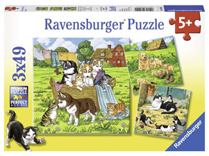 Ravensburger 3 x 49 Piece Jigsaw Puzzle: Cats And Dogs