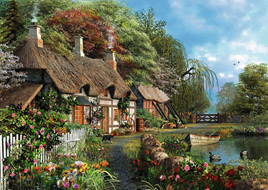 Ravensburger 300XL Piece  Large Format Jigsaw Puzzle:  Cottage On A lake