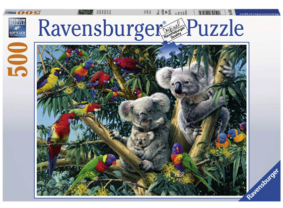 Ravensburger 500 piece puzzle Koala's in the Tree buy at www.puzzlesnz.co.nz