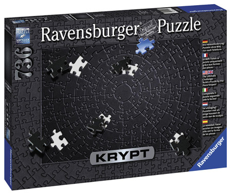 Ravensburger Krypt Black Spiral 736 Piece Blank Jigsaw Puzzle Challenge for Adults