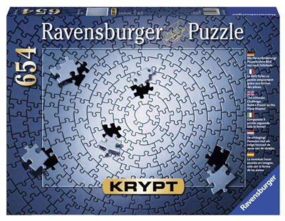 Ravensburger Krypt Silver Spiral 654 Piece Blank Jigsaw Puzzle Challenge for Adults