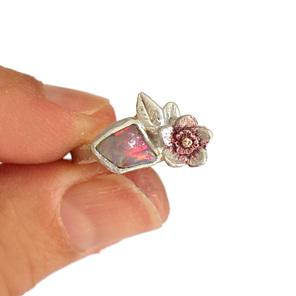 raw australian opal floral leaf flower pink sterling silver botanical ring