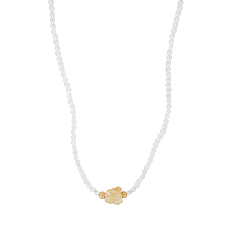 Raw Citrine Crystal and Moonstone Bead Necklace