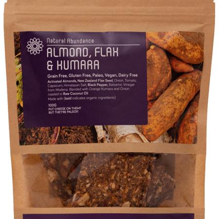 Raw Crackers, Almond, Flax & Kumara 100gr