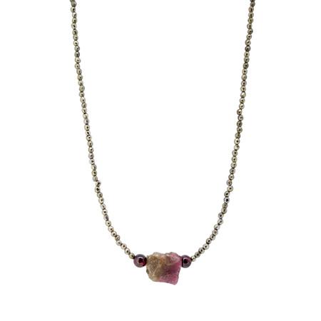 Raw Tourmaline Crystal, Garnet and Pyrite Bead Necklace
